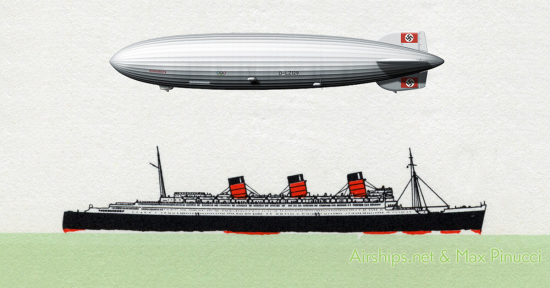 Queen Mary and Hindenburg