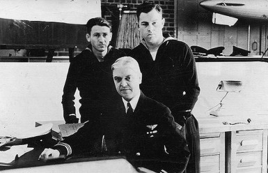 The three survivors of the USS Akron: Moody Erwin (left), Herbert V. Wiley (center), and Richard Deal (right)