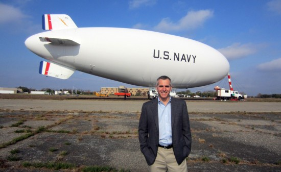 The author, Dan Grossman, with U.S. Navy blimp MZ-3A.