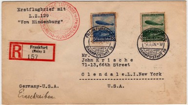Registered mail carried on Hindenburg's first flight from Europe to America (Sieger 406D)