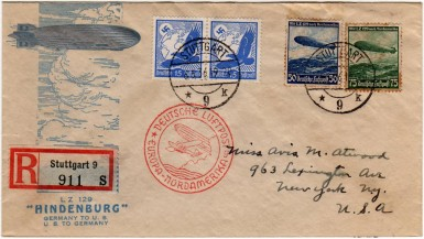 Cover carried on Hindenburg's maiden flight from Germany to the United States. Sieger 406D.