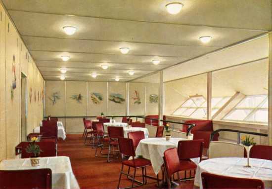 Dining Room of Airship Hindenburg. (click all photos to enlarge)