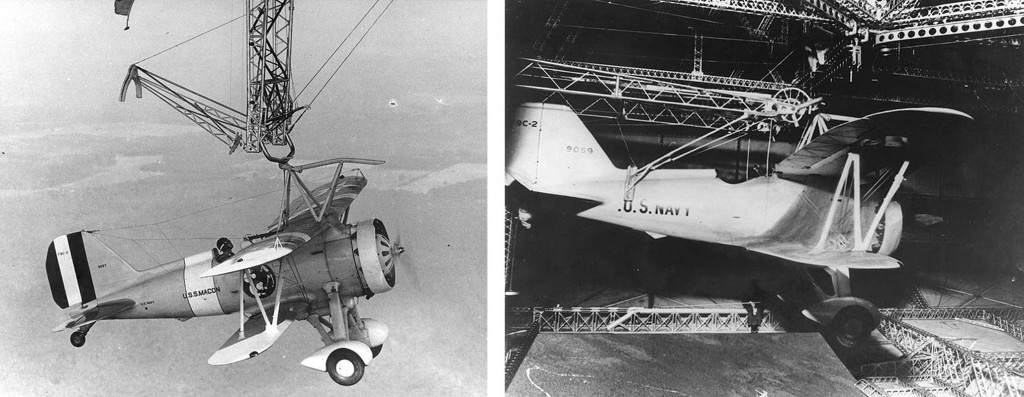 F9C-2 hooking on trapeze (left) and stowerd in hangar deck (right)